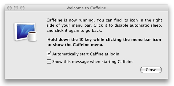 Preferences pane for Caffeine