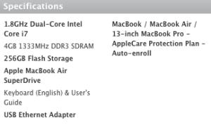 2011 MacBook Air Specs