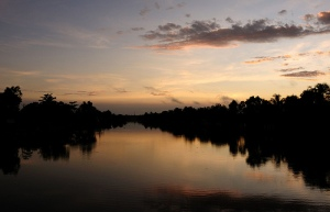 Photo of a sunset over a lake.