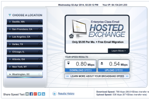Screenshot of a speakeasy.net speed test.